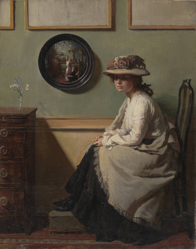 Sir William Orpen 1878–1931 Title The Mirror Date 1900 Medium Oil paint on canvas Dimensions Support: 508 x 406 mm frame: 682 x 580 x 75 mm