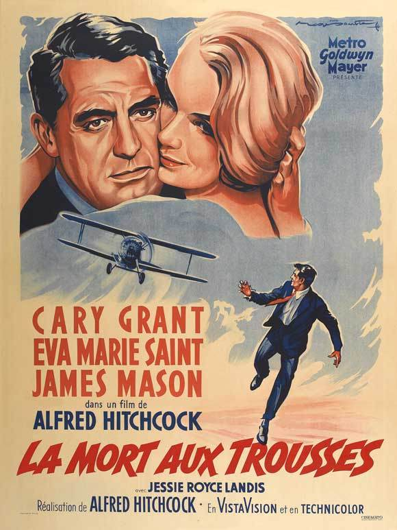 French poster for North by Northwest, starring Cary Grant and Eva Marie Saint.