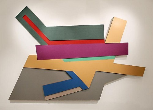 "Frank Stella, Polish Village Series, : ""Odelsk 3″, acrylic paint and cloth on constructed plywood, 1971, 7.5 ft x 11ft"