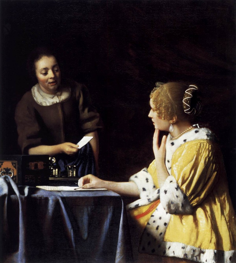 Johannes Vermeer Lady with Her Maidservant Holding a Letter c. 1667 Oil on canvas, 89,5 x 78,1 cm Frick Collection, New York
