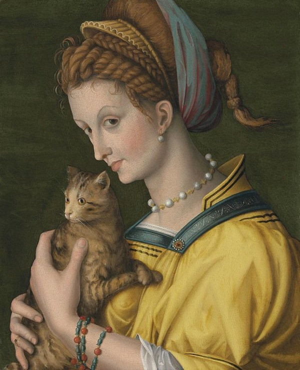 """Portrait of a Young Woman with a Cat"", 1525, by Francesco d'Ubertino Verdi, a.k.a. Bachiacca (Italian, 1494-1557)"