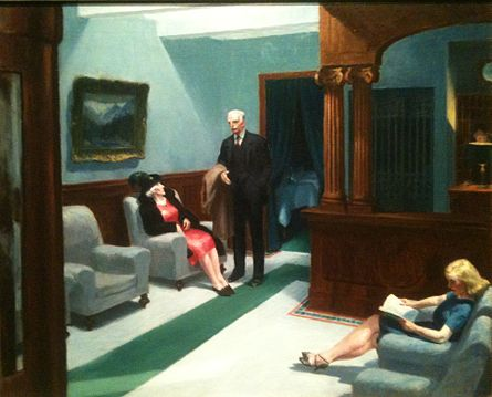 Edward Hopper, Hotel Lobby, 1943, Oil on canvas 32 1⁄4 in × 40 3⁄4 in.