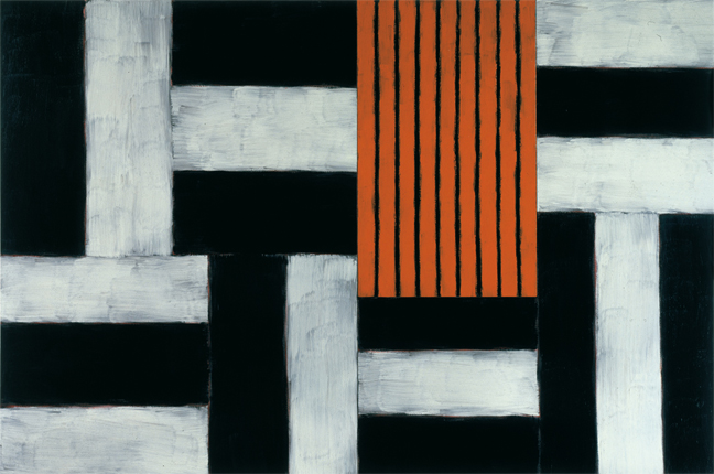 "Sean Scully, ""Uriel"" 1997, oil on linen, 96 x 144."