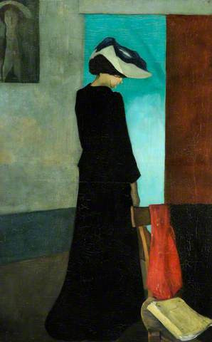 Sir William Rothenstein, Interior Lady with a Hat