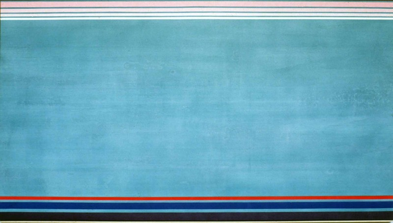 "Kenneth Noland, ""North South East West"" 1990, Acrylic Painting, 66.63 x 120 inches."