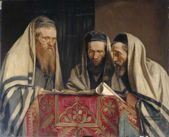 Sir William Rothenstein, Reading the Book of Esther, Date painted: 1907–1909 Oil on canvas, 87 x 106.5 cm.