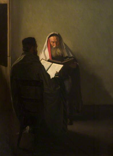 "Sir William Rothenstein, ""A Corner of the Talmud School"" 1907, oil on canvas"