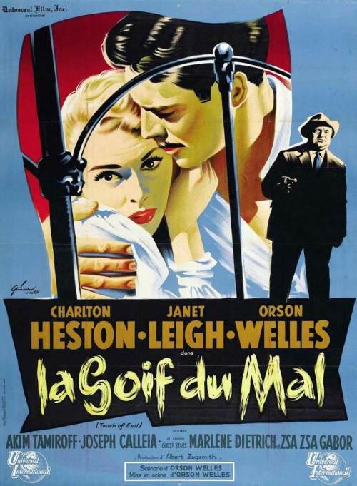 French poster, Touch of Evil, starring Charlton Heston and Janet Leigh, 1958. This is my favorite Orson Welles movie.