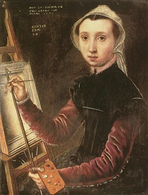 Catharina van Hemessen, Self portrait, 1548. This might be the first self-portrait ever done where the artist is shown at an easel.