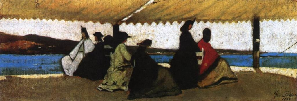 Giovanni Fattori, The Rotunda of Palmieri, 1866, oil on the table, oil on panel, 12 × 35 cm