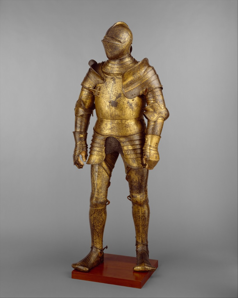 Armor Garniture, Probably of King Henry VIII of England (reigned 1509–47) Design of the decoration attributed to Hans Holbein the Younger (German, Augsburg 1497/98–1543 London) Medium: Steel, gold, leather, copper alloys