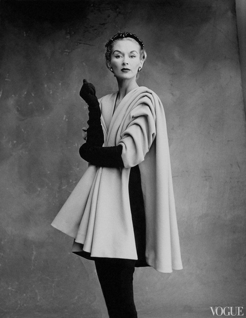Irving Penn, Lisa Fonssagrives-Penn wearing a mantel coat by Cristobal Balenziaga, 1950