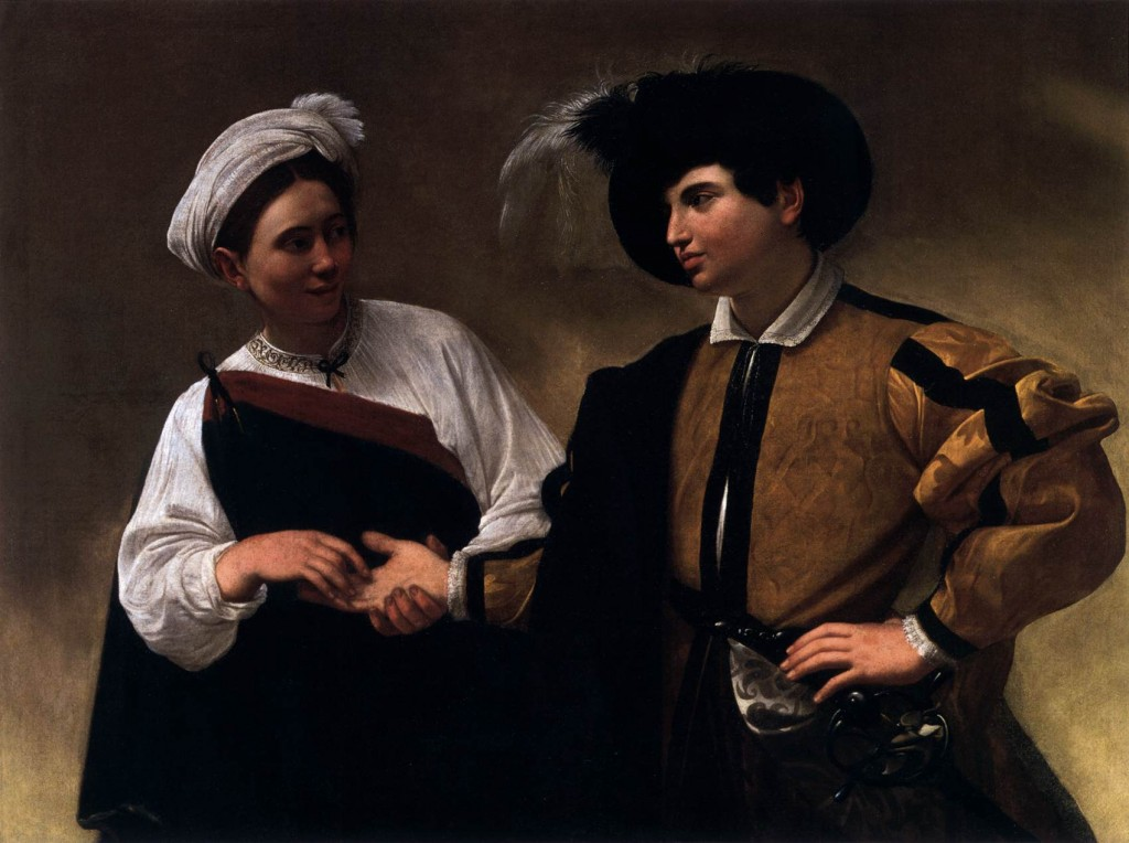 "Caravaggio, ""The Fortune Teller"" c. 1596 Oil on canvas, 115 x 150 cm Pinacoteca Capitolina, Rome"