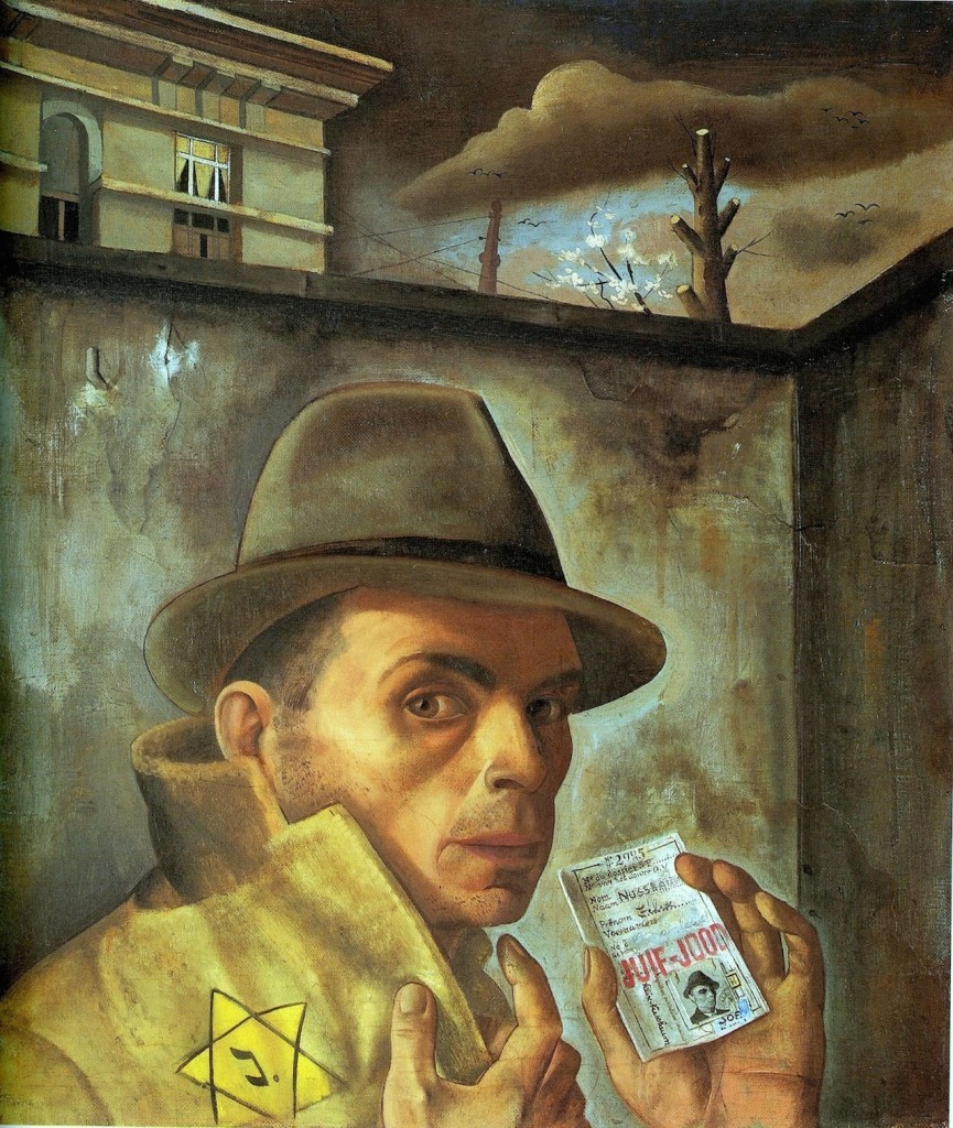 Felix Nussbaum, Self Portrait with Jewish Identity Card, 1943. Nussbaum died at Auschwitz in 1944 at the age of 39. A museum devoted to his work was completed in 1998 in his hometown of Osnabrück.