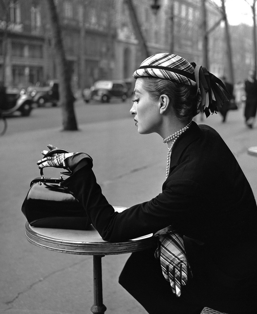 Capucine for ELLE, Boulevard de la Madeleine, Paris,1952 by Georges Dambier