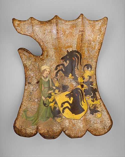 Tournament or Cavalry Shield (Targe) Date: ca. 1450, German Medium: Wood, leather, linen, gesso, pigments, silver Dimensions: H. 22 in. W. 16 in.