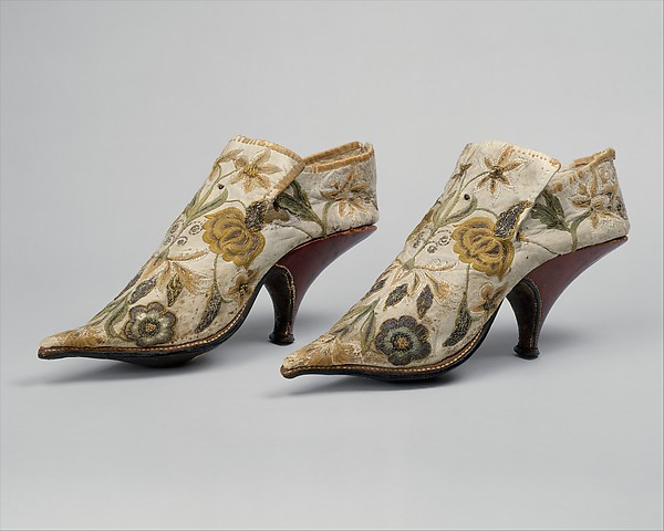 Ladies Shoes, France Date: 1690–1700 Medium: silk, leather Dimensions: Length: 10 in.
