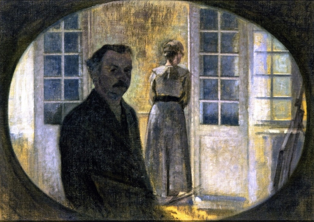 Double Portrait of the Artist and his Wife, seen through a Mirror, The Cottage Spurveskjul Vilhelm Hammershøi - circa 1911