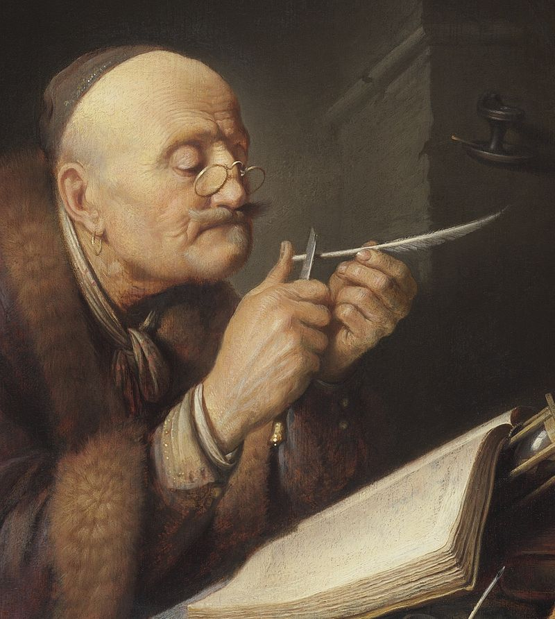 "Gerrit Dou, ""Scholar Sharpening a Quill Pen"" 1630-1635, The Leiden Collection NY"