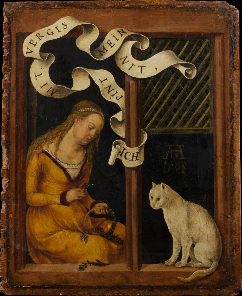 "Girl Making a Garland by Hans Süss von Kulmbach, 1508. The banner reads ""I bind with forget-me-nots."