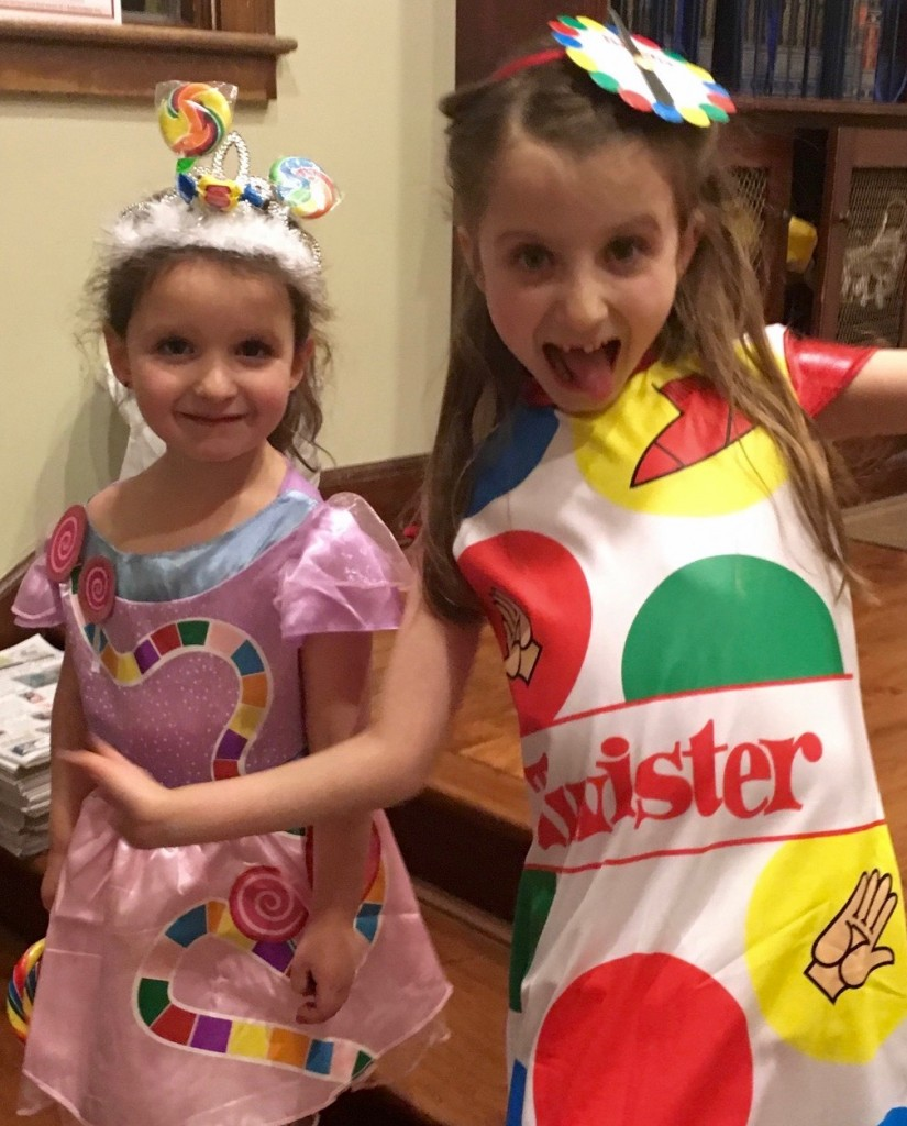 Lielle (Candyland) and Maayan (Twister) in their Purim costumes wish all our friends and relatives a lovely and meaningful Shabbat.