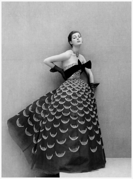 Henry Clarke, Fiona Campbell-Walter in Dior, 1951.