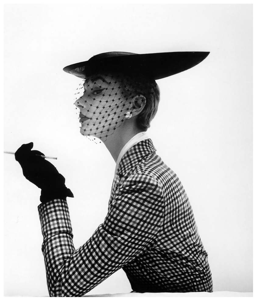 Irving Penn, Lisa Fonssagrives wearing a bicorne skimmer by Lilly Dache, Vogue, Feb. 15, 1950.