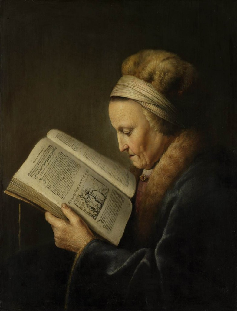 "Gerrit Dou , ""Old Woman Reading a Bible"" c. 1630 Oil on wood, 71 x 56 cm Rijksmuseum, Amsterdam"