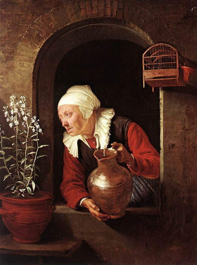 "Gerrit Dou, ""Old Woman Watering Flowers"" 1660-65 Oil on wood, 28,3 x 22,8 cm Kunsthistorisches Museum, Vienna"