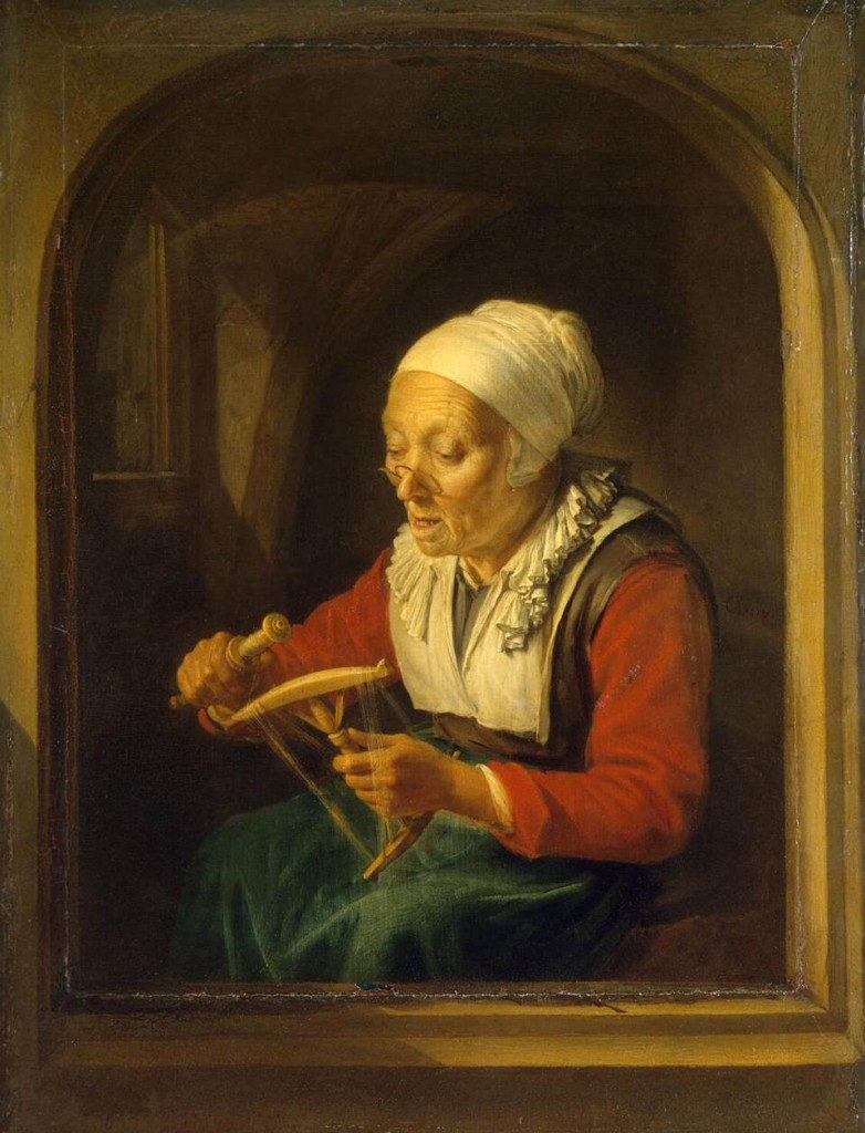 "Gerrit Dou, ""Old Woman Unreeling Threads"" 1660-65 Oil on panel, 32 x 23 cm The Hermitage, St. Petersburg"