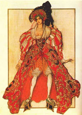 Potiphar's Wife (1914) by the Russian artist Léon Samoilovitch Bakst (1866-1924). Bakst was a painter but became famous as a scene and costume designer who revolutionized the arts in which he worked. Here he imagines the costume of Potiphar's Wife, as an exotic, scary strange lady.