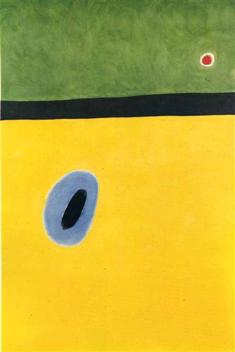 Joan Miro The Larks Wing Encircled-with Golden Blue Rejoins the heart of the poppy sleeping on a diamond. 1967 oil on canvas 195 x 130 cm