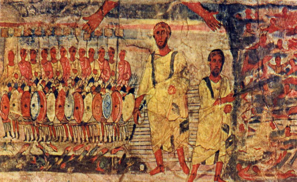 Dura Europos fresco Jews Cross the Red Sea Created, 244-256 CE