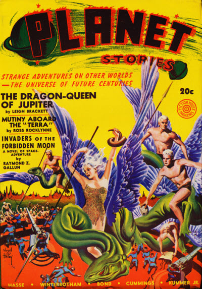 "Leigh Brackett's ""The Dragon-Queen of Jupiter"" was the cover story in the Summer 1941 issue of Planet Stories"