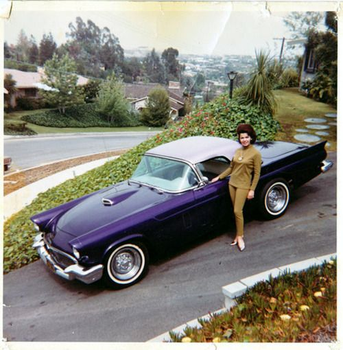 Annette Funicello and her Ford Thunderbird,1955.