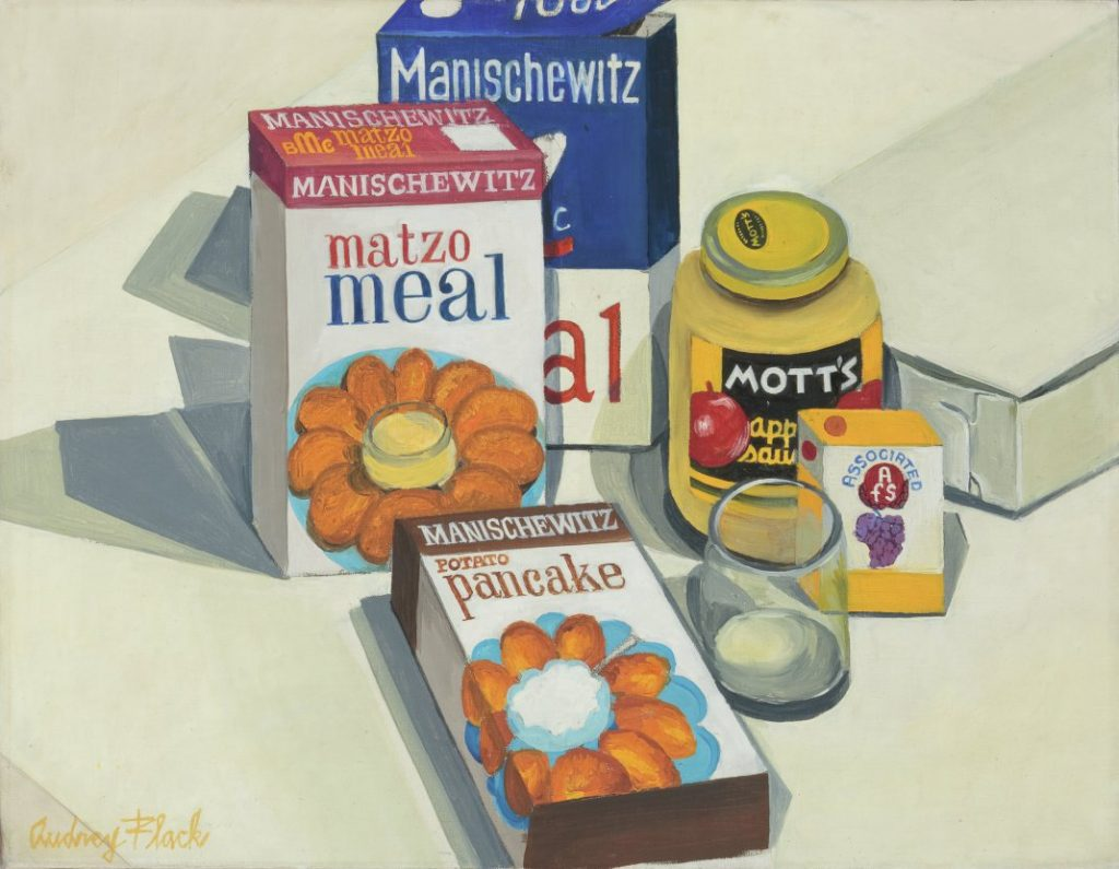 Audrey Flack, American, b. 1931 Matzo Meal, c. 1962 Oil on canvas 14 1/8 × 18 1/4 in. (35.9 × 46.4 cm)