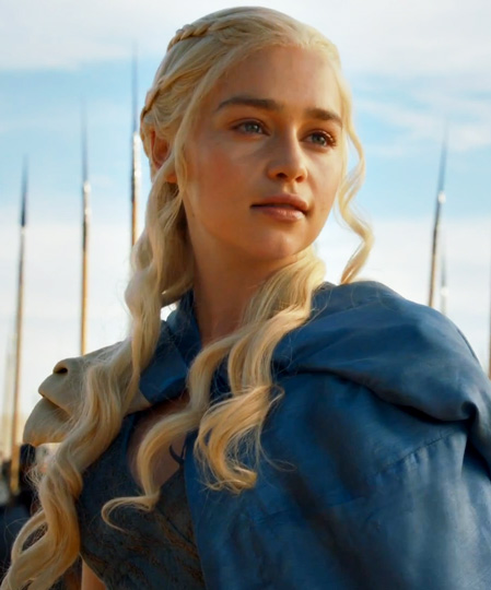 "Daenerys Targaryn, Emilia Clarke in Game of Thrones. ""The slave learns to love his shackles."""