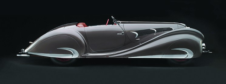The 135MS Roadster, 1937, a sleek classic, from the Sculpted in Steel Exhibit.