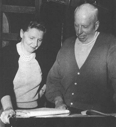 "Screenwriter Leigh Brackett with director Howard Hawks on the set of Rio Bravo. ""Plot is people. Human emotions and desires founded on the realities of life, working at cross purposes, getting hotter and fiercer as they strike against each other until finally there's an explosion—that's Plot."" —Leigh Brackett"