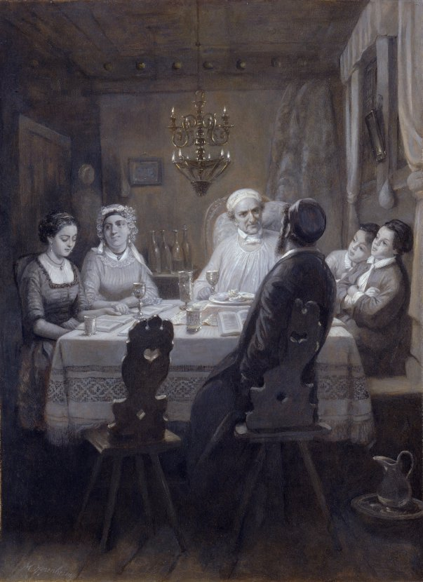 Moritz Daniel Oppenheim, German, 1800-1882 Seder (The Passover Meal) (Der Oster-Abend), c. 1867 Oil on paper on canvas 24 1/2 × 18 in. (62.2 × 45.7 cm)
