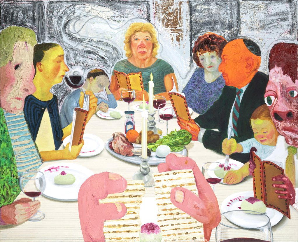 Nicole Eisenman, American, b. France, 1965 Seder, 2010 Oil on canvas 39 1/16 × 48 in. (99.2 × 121.9 cm)