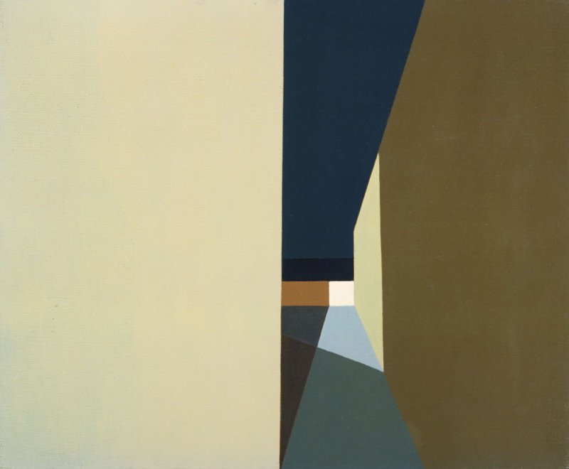 Helen Lundeberg Night Lights and Shadows 1959 Oil On Canvas 20 x 24 in.
