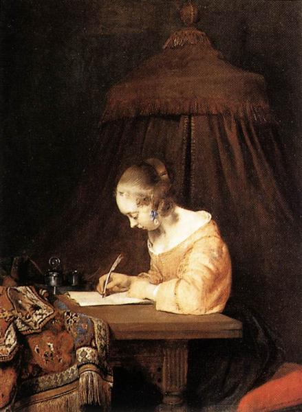 Gerard Terborch Woman Writing a Letter 1655 oil on wood 38 x 29 cm