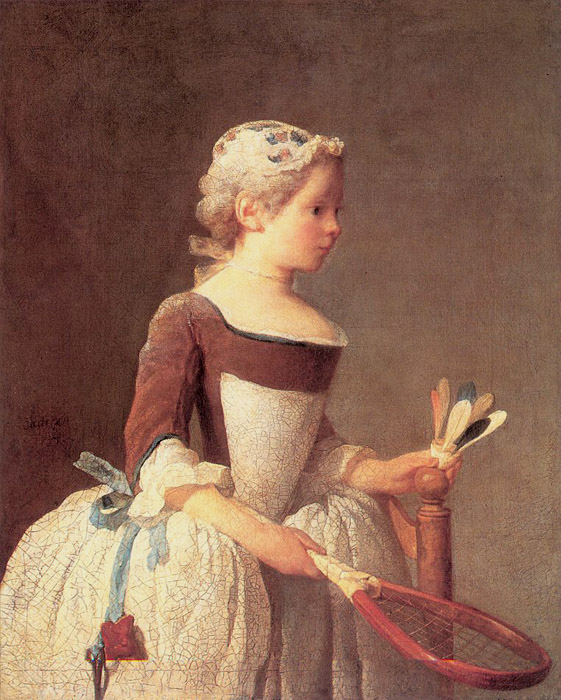Jean-Baptiste-Siméon Chardin, Girl with Racket and Shuttlecock, 1740, oil on canvas, 82 x 66 cm (Uffizi Gallery, Florence)