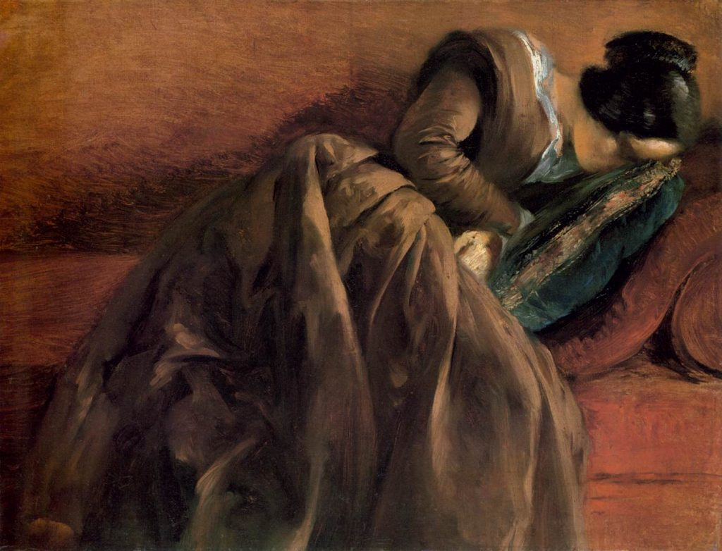 Adolph Menzel (1815–1905) My Sister Emily Sleeping circa 1848 Oil on paper and canvas Dimensions Height: 47 cm (18.5 in). Width: 60 cm (23.6 in). Kunsthalle Hamburg