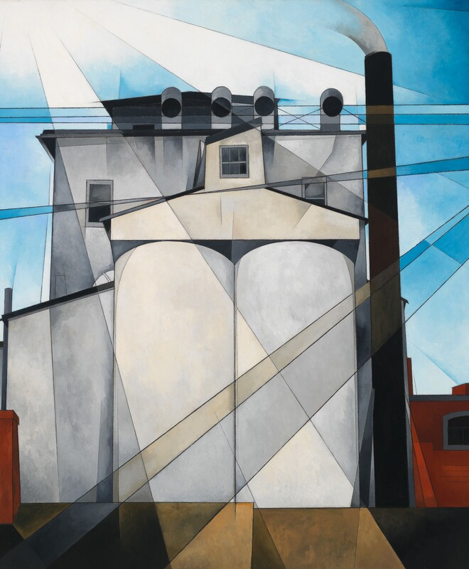 Charles Demuth (1883-1935) My Egypt 1927 Oil, fabricated chalk, and graphite pencil on composition board 35 15/16 × 30 in.