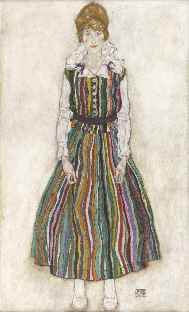 Egon Schiele, Edith Schiele In Striped Dress, 1915 Oil on canvas 180.2 X 110.1 CM.