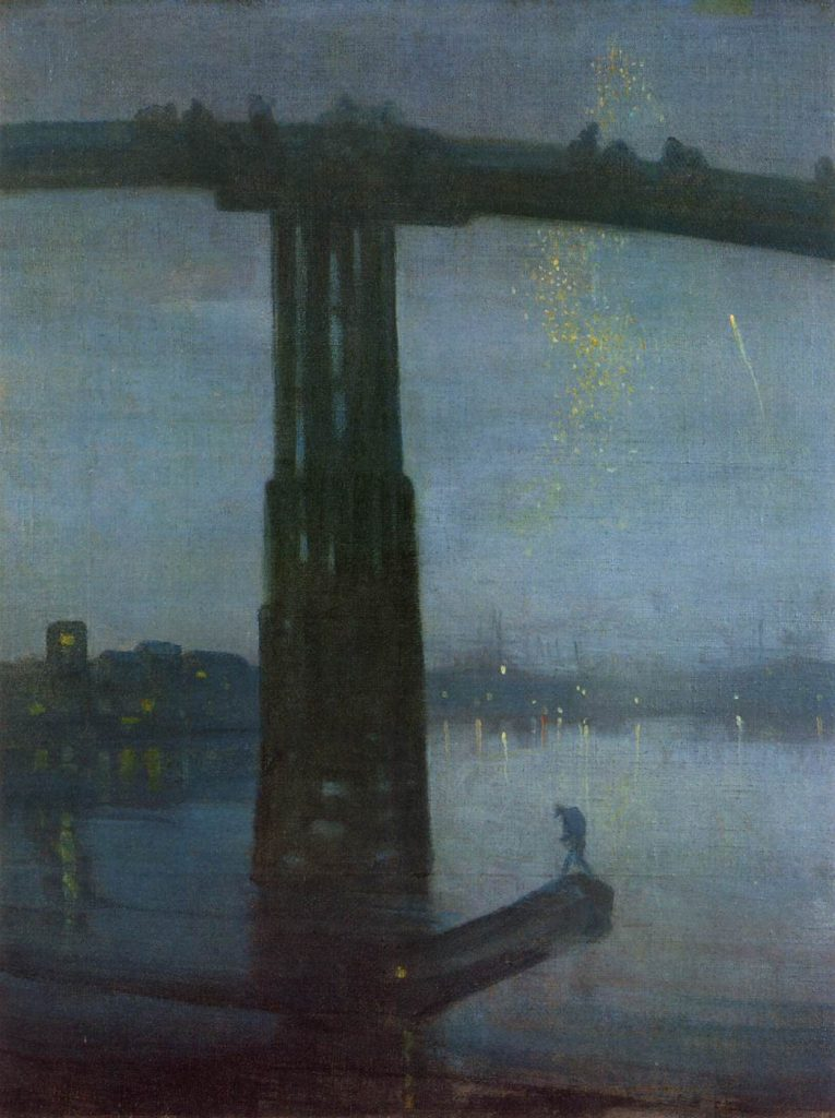 James Abbot McNeill Whistler American painter and printmaker (b. 1834, Lowell, d. 1903, London) Nocturne in Blue and Gold: Old Battersea Bridge 1872-75 Oil on canvas, 67 x 49 cm Tate Gallery, London