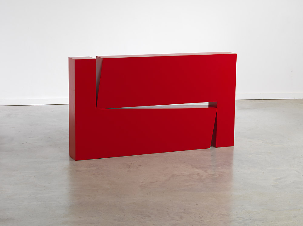 Carmen Herrera Estructura Roja, 1966/2012 Plywood, automobile paint 27 5/8 x 49 1/4 x 5 in.