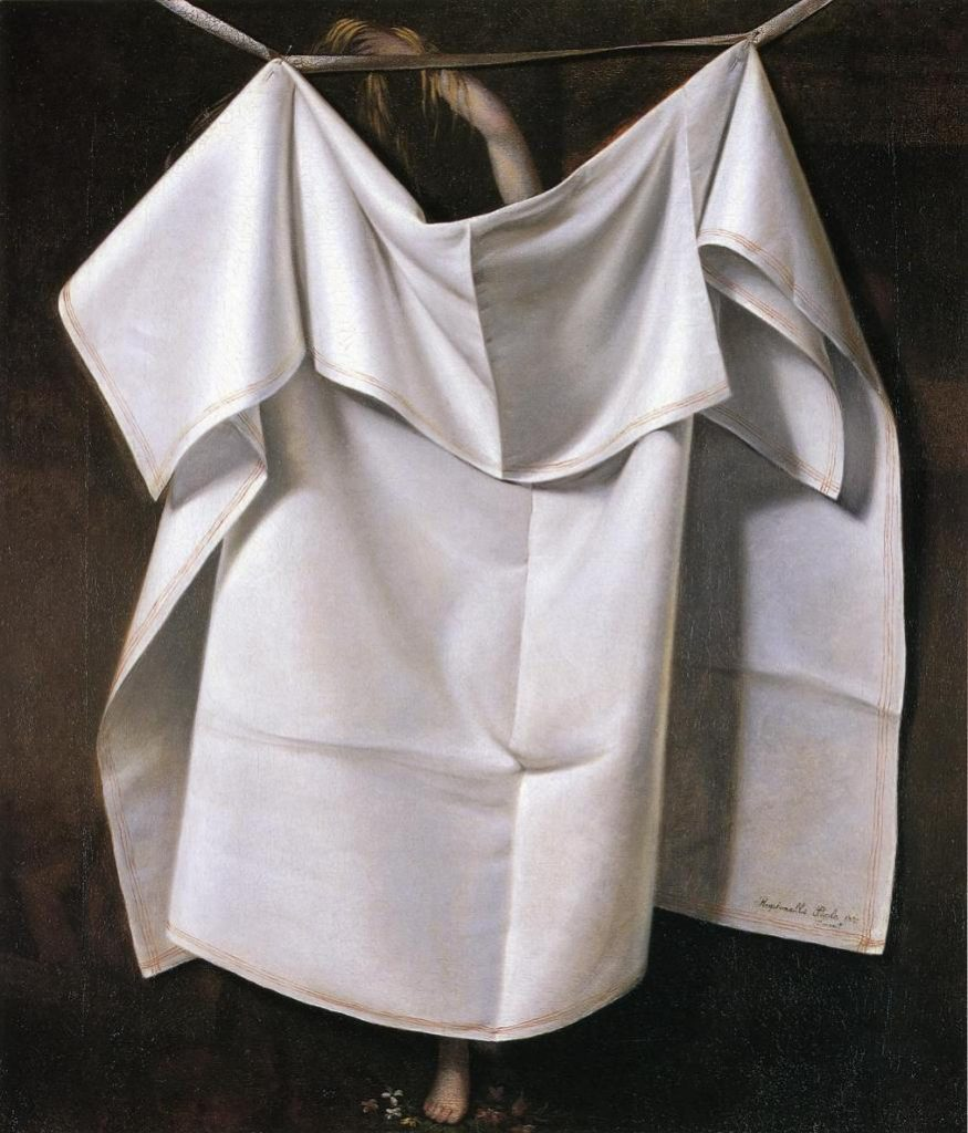 """Raphaelle Peale, Venus Rising from the Sea – A Deception (After the Bath), circa 1822. This is, according to the eminent art historian Robert Hughes, """"... an image, not of Venus's own comic modesty, but of Quaker censorship. For though the ability to draw and paint the female nude was essential to artistic practice in Europe, in Federal America images of naked women were rare, never encouraged, and always controversial."""" —American Visions: The Epic History of Art in America."""